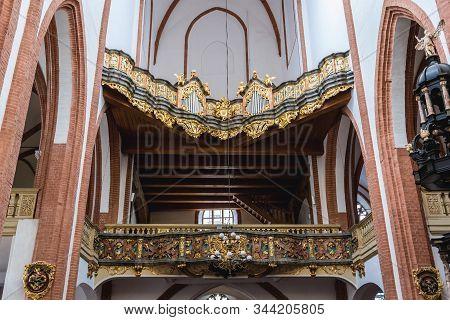Wroclaw, Poland - December 2, 2019: Organ Of Garrison Church - Basilica Of St Elisabeth Located In H