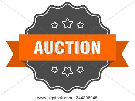 Auction Isolated Seal. Auction Orange Label. Auction