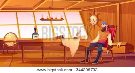 Pirate Captain In Ship Cabin. Vector Cartoon Illustration Of Wooden Room Interior, Man With Beard An