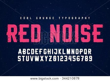 Vector Illustration Condensed Typeface, Vintage Alphabet, Grunge Distress Letter Font