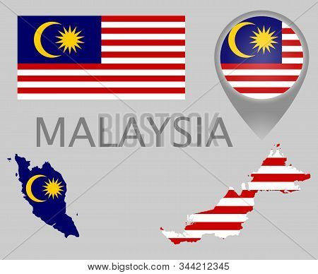 Colorful Flag, Map Pointer And Map Of Malaysia In The Colors Of The Malaysian Flag. High Detail. Vec