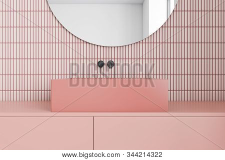 Pink Bathroom Interior With Sink And Mirror