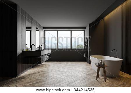 Gray And Wooden Loft Bathroom Interior