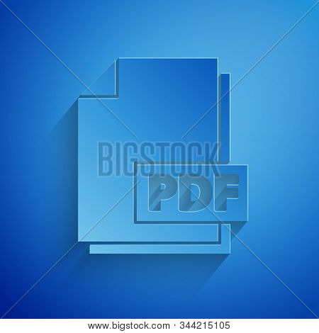 Paper Cut Pdf File Document. Download Pdf Button Icon Isolated On Blue Background. Pdf File Symbol.