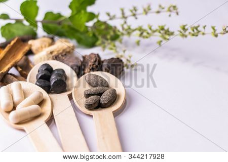 Ayurvedic Medicine Concept. Close-up Shot Of Ayurvedic Medicine Tablets And Capsules In Wooden Spoon