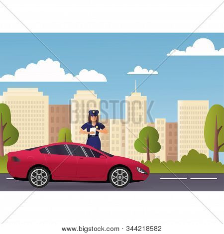 Policeman And Police Patrol On A Road With Stopped Car And It Driver. Concept Police. Road To Modern
