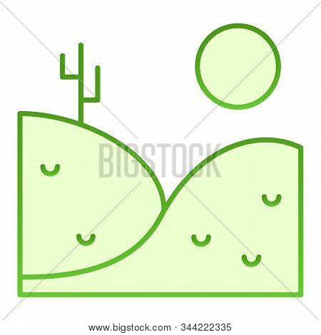 Desert Landscape Flat Icon. Landscape With Cactus Green Icons In Trendy Flat Style. Hills Ans Sun Gr