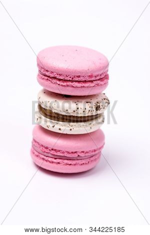 French Colorful Macarons Colorful Pastel Macarons On White Background White And Pink Macarons Vertic