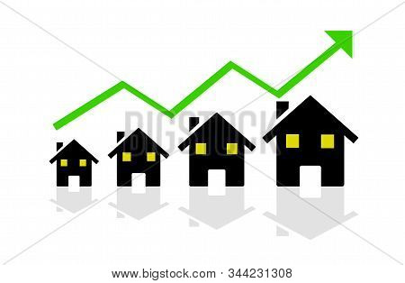 Concept Of Real Estate Sales Growth.conceptual Illustration For Business Report