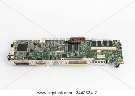 Close Up Of Motherboard Old Laptop With Parallel, Serial , Vga, Ps2 Port  On White Background