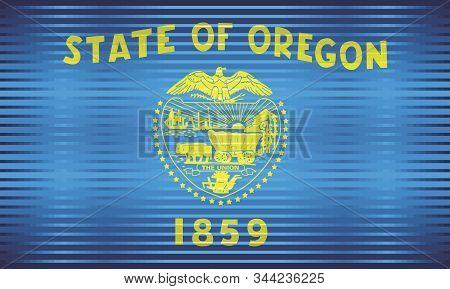 Shiny Grunge Flag Of The Oregon - Illustration,  Three Dimensional Flag Of Oregon