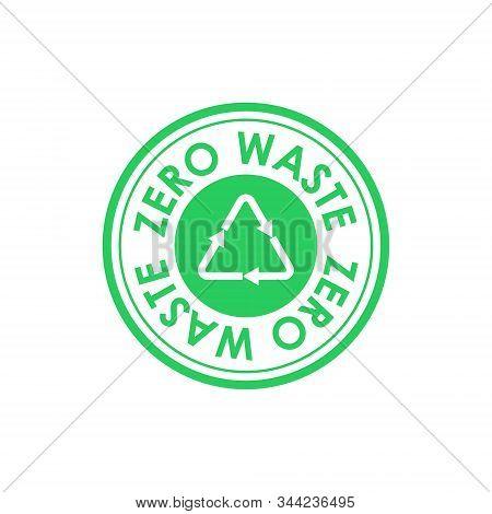 Zero Waste Circle Icon With The Mobius Strip In Center. Zero Waste Text Around The Edge Of The Circl