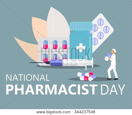 National Pharmacist Day Is Celebrated In January 12. Doctor Of Pharmacy Is Working In Drugstore And