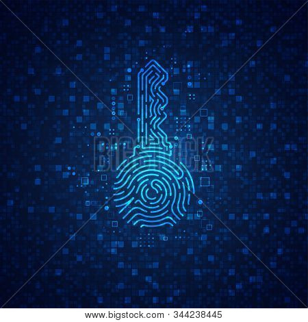 Concept Of Cyber Security Or Private Key In Cryptocurrency Technology, Shape Of Key Combined With Fi