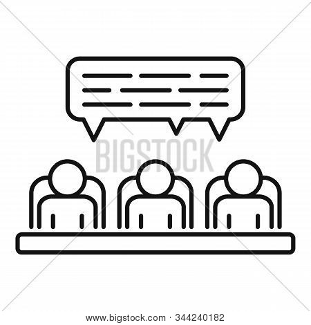 Speaking Cooperation Icon. Outline Speaking Cooperation Vector Icon For Web Design Isolated On White
