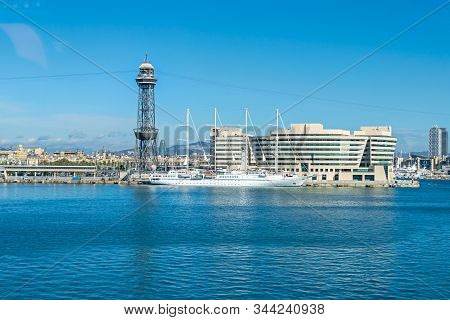 Barcelona, Spain - November 2, 2019: Cruise Port With A Tower Torre Jaume I, Buildings Of The World