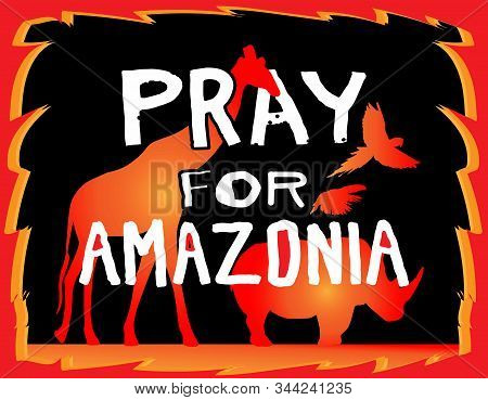 Vector Doodle Style Banner Saying Pray For Amazonia. Poster. Horizontal Vector Illustration. Brazili