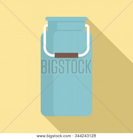 Milk Aluminium Pot Icon. Flat Illustration Of Milk Aluminium Pot Vector Icon For Web Design