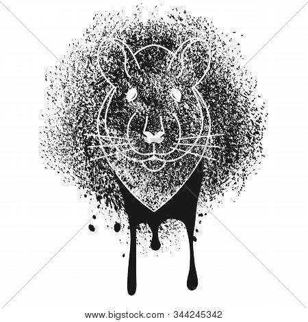 Head Of Rat Stencil Spray Paint On The Wall. Graffiti Art Stylization. Black And White Monochrome Sk