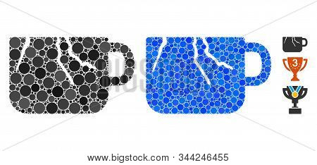 Damaged Cup Composition Of Spheric Dots In Variable Sizes And Color Tinges, Based On Damaged Cup Ico