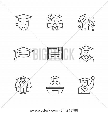 Set Line Icons Of Graduation Isolated On White. Graduate Hat, Diploma, School, University Or College