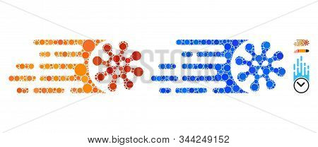 Gone Viral Mosaic Of Circle Elements In Variable Sizes And Color Tinges, Based On Gone Viral Icon. V