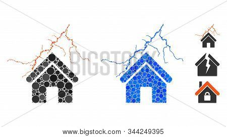 Home In Thunderstorm Mosaic Of Spheric Dots In Variable Sizes And Color Tones, Based On Home In Thun