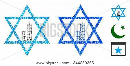 Jerusalem Star Composition Of Small Circles In Various Sizes And Color Tones, Based On Jerusalem Sta