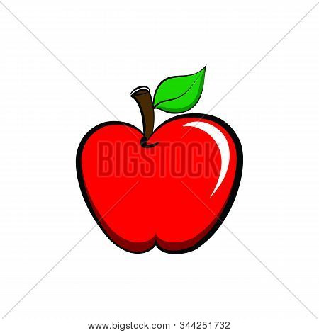 Apple Icon Isolated Flat. Apple Fruits Vector Design, Apple Icon Trendy And Modern Apple Symbol For