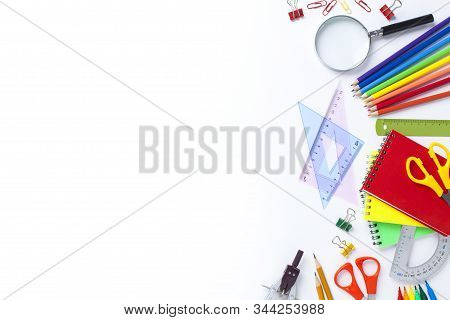 School Supplies On White Background. Back To School Concept..