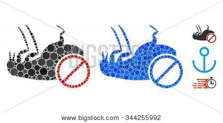 Stop Flea Mosaic Of Small Circles In Various Sizes And Color Hues, Based On Stop Flea Icon. Vector R