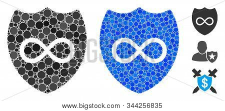 Unlimited Shield Mosaic Of Small Circles In Various Sizes And Color Tints, Based On Unlimited Shield