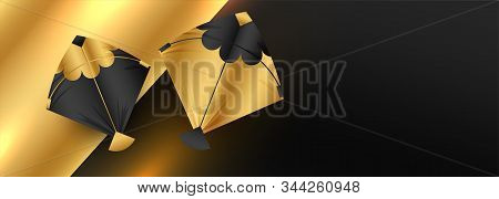 Golden Kites Banner Design With Text Space
