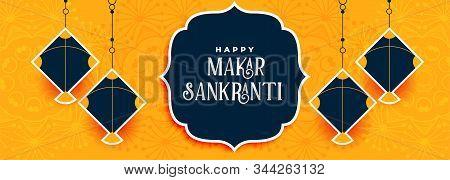 Indian Makar Sankranti Festival Of Kites Banner Design