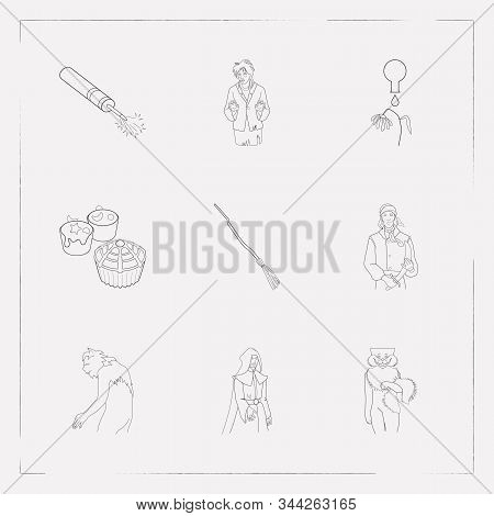 Set Of Halloween Icons Line Style Symbols With Petard, Cheshire Cat, Werewolf And Other Icons For Yo