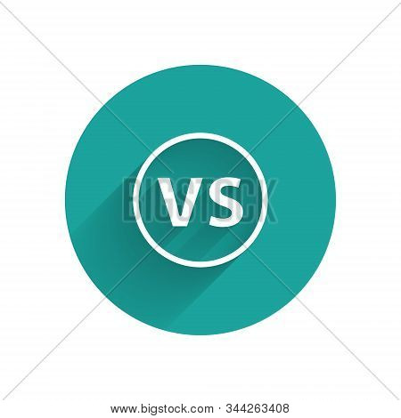White Vs Versus Battle Icon Isolated With Long Shadow. Competition Vs Match Game, Martial Battle Vs