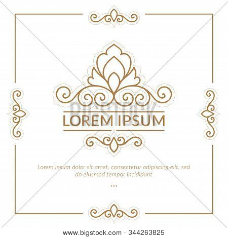 Linear Frame With Decorative Vector Ornament. Elegant, Classic Elements. Can Be Used For Jewelry, Be