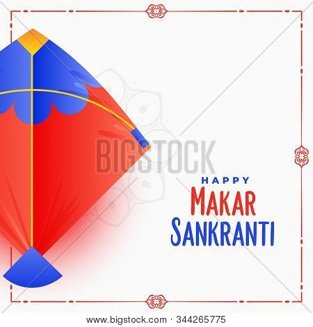 Indian Makar Sankranti Festival Card Design With Kite