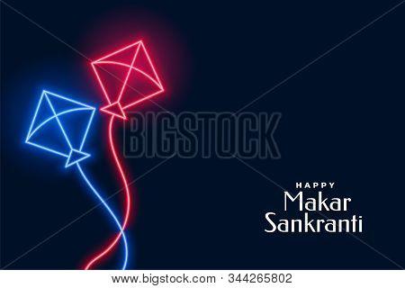 Neon Flying Kites For Makar Sankranti Festival