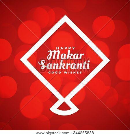 Red Makar Sankranti Background With Line Style Kite
