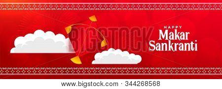 Happy Makar Sankranti Red Festival Banner Design