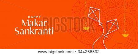 Makar Sankranti Orange Banner With Two Kites