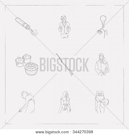 Set Of Feast Icons Line Style Symbols With Petard, Cheshire Cat, Werewolf And Other Icons For Your W
