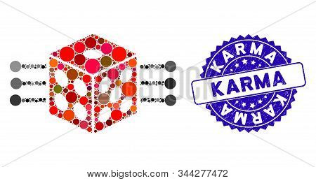 Mosaic Dice Links Icon And Distressed Stamp Watermark With Karma Phrase. Mosaic Vector Is Designed W