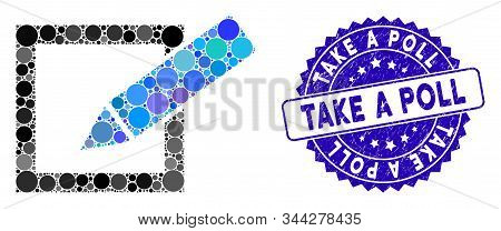 Mosaic Take A Poll Icon And Rubber Stamp Watermark With Take A Poll Caption. Mosaic Vector Is Formed