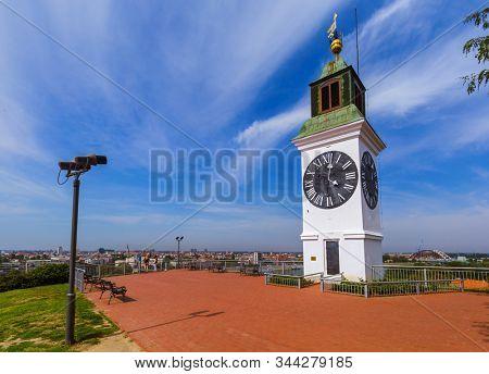 Clocktower in Petrovaradin fortress - Novi Sad Serbia - architecture travel background