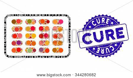 Collage Blister Icon And Grunge Stamp Seal With Cure Phrase. Mosaic Vector Is Designed With Blister