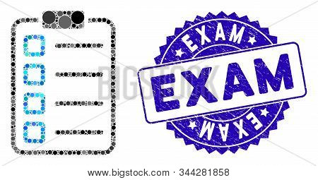 Collage Examination List Icon And Rubber Stamp Seal With Exam Caption. Mosaic Vector Is Composed Wit