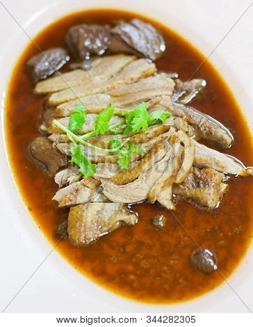 Selective Focused Chinese Traditional Food, Braised Goose In Lou Mei Sauce (master Stock). Asian Ori