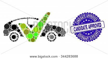 Collage Car Test Icon And Grunge Stamp Watermark With Candidate Approved Text. Mosaic Vector Is Crea